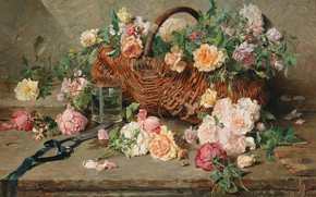 Picture French painter, French painter, oil on canvas, François-Adolf Griso, Francois Adolphe Grison, Still life of …