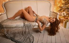 Picture girl, pose, sofa, feet, dress, tree, long hair, Mykola Kashuba