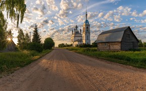 Picture road, temple, Russia, Savinskoye, Yaroslavskaya Oblast'