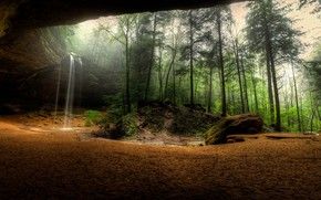 Picture forest, rock, waterfall, panorama, the grotto