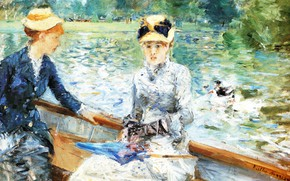 Picture lake, girls, picture, Summer day, Berthe Morisot, Berthe Morisot