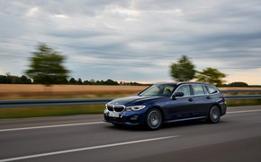 Picture speed, BMW, the fence, 3-series, universal, dark blue, 3P, 2020, G21, 330d xDrive Touring
