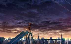 Picture girl, the city, dawn, morning, slide, children's Playground