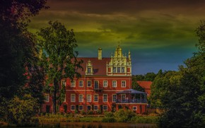 Picture trees, Park, the building, Germany, Bad Muskau
