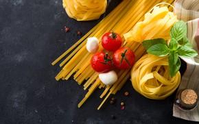 Picture tomatoes, pasta, Basil, mozzarella
