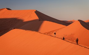 Picture Africa, relief, light, heat, desert, people, shadows, Sands, sand, dunes, path, tourists, hills, the sky, …