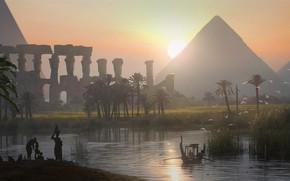 Picture pyramid, Egypt, Raphael Lacoste, Origins, Assassin's Creed Origins, Dusk on the Nile Valley