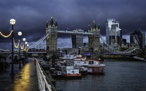 Picture clouds, the city, river, England, London, building, lights, UK, Thames, tower, twilight, Tower bridge, promenade, …