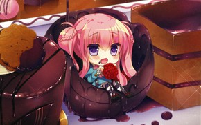 Picture raspberry, pink hair, big eyes, chocolate glaze, the actual, chocolate dessert, Lilia Chocolanne, by Rena …