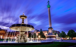 Picture the city, building, the evening, Germany, lighting, area, fountain, Stuttgart, Castle square, Castle square