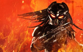 Picture background, fiction, fire, flame, sparks, alien, Predator, poster, horror, bokeh, The Predator