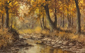 Wallpaper Autumn landscape with river, Laszlo Nogradi, Hungarian painter, Autumn landscape with river, vengerskii painter, Laszlo ...
