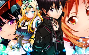 Picture girls, anime, art, different, Crossover, Kirito