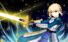 Picture girl, night, sword, the saber, Artoria Pendragon, Fate stay night, Excalibur, Fate / Stay Night