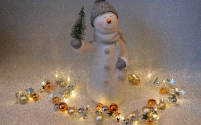 Picture winter, holiday, toy, lights, Christmas, New year, snowman, garland, herringbone, figure, bokeh, Christmas decorations, Christmas …
