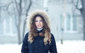 Picture girl, snow, fur, Christina, Evgeny Bulatov