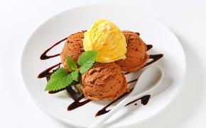 Picture balls, plate, ice cream, treat
