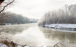 Picture winter, snow, River, haze, RUBTSOVSK, photographer Alexander butchers