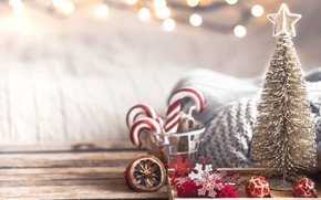 Picture decoration, lights, tree, Christmas, New year, christmas, wood, vintage, bokeh, decoration