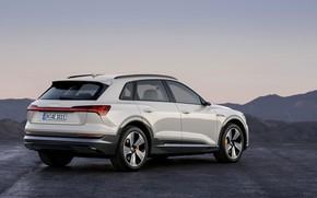 Picture grey, Audi, side view, E-Tron, 2019