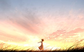 Picture sunset, nature, girl