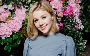 Picture look, girl, flowers, smile, beautiful, Yulianna Karaulova