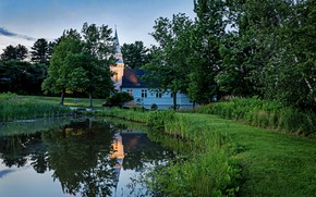 Picture landscape, the city, house, pond, Church, USA, New Hampshire, New Hampshire, Sugar Hill