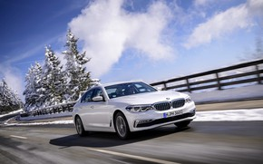 Picture white, the sky, clouds, movement, BMW, sedan, hybrid, 5, four-door, 2017, 5-series, G30, 530e iPerformance