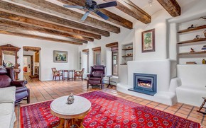 Picture interior, fireplace, living room, Santa Fe, hasienda