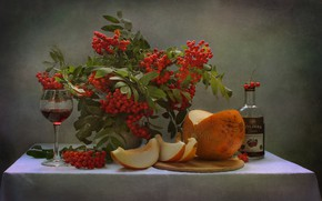 Picture leaves, branches, berries, glass, bottle, vase, drink, still life, Rowan, bunches, slices, melon, Kovaleva Svetlana