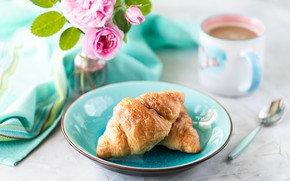 Picture coffee, plate, Cup, Croissants
