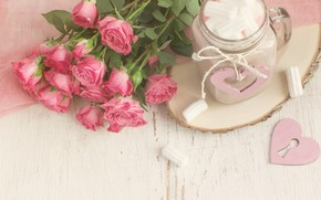 Picture roses, bouquet, mug, cocoa, marshmallows, marshmallows, Colnihko