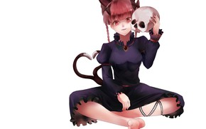 Picture skull, black dress, red eyes, art, Touhou Project, Rin Kaenbyou, black magic, Project East, human, …