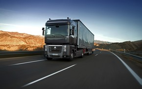 Picture the sky, black, hills, track, truck, Renault, Magnum, tractor, 4x2, the trailer, Renault Trucks