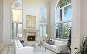 Picture Windows, fireplace, mansion, sofas, living room
