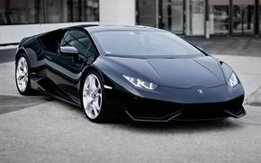 Picture machine, auto, black, Car, Lamborghini, Lamborghini Hurricane, background street, Lamborghini Huracán LP 610, Lamborghini Lp …