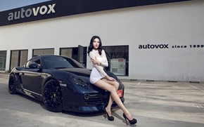 Picture auto, look, Girls, Porsche, Asian, beautiful girl, posing on the hood