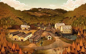 Picture Nature, Home, Mountains, Autumn, Forest, House, Village, Tree, Hills, Landscape, Art, Art, Tree, Landscape, Autumn, …