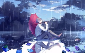 Picture nature, rain, umbrella, anime, art, guy, lluluchwan
