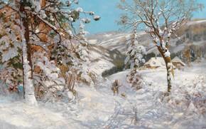 Picture Alois Arnegger, Austrian painter, Austrian painter, oil on canvas, Alois Arnegger, Hunter in a winter …