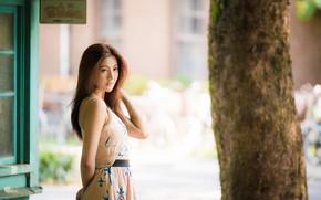 Picture girl, Asian, cutie, bokeh