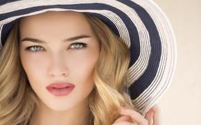 Picture summer, girl, hair, portrait, hat, sponge, beautiful