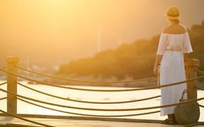 Picture summer, girl, light, bridge, fog, river, mood, white, shore, woman, back, morning, dress, hill, the …