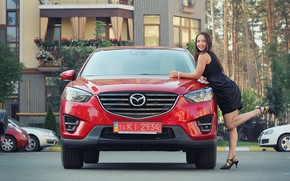 Picture look, smile, Girls, Mazda, beautiful girl, red car, posing on the car