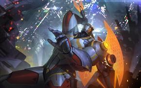 Picture fiction, art, helmet, armor, axe, cyborg, Heroes of Newerth, Legionnaire, F.L.E.X.