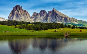 Picture the sky, trees, mountains, lake, rocks, field, valley, Alps, Italy, houses, forest, plateau, meadows, The …