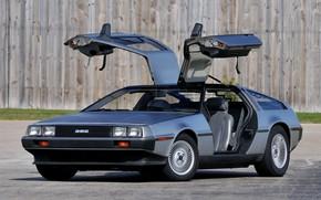 Picture Wheel, Door, Lights, DeLorean DMC-12, DeLorean, 1982, Sports car
