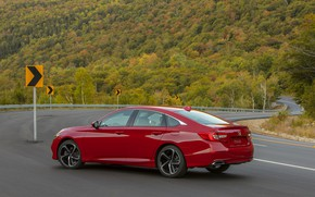 Picture road, forest, red, slope, signs, Honda, Accord, sedan, 2018, four-door, 2.0T Sport