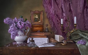Picture pen, books, portrait, candles, still life, blind, bell, lilac, Pushkin
