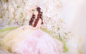 Picture flowers, dress, hairstyle, The bride